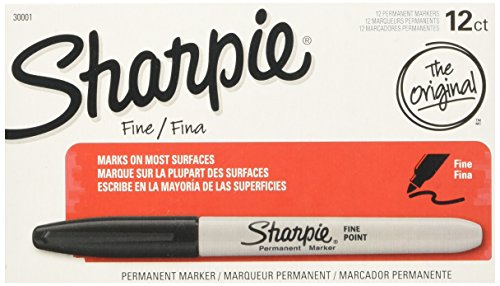 Sharpie Permanent Markers, Fine Point, Black, 12 Count (Pack of 12)