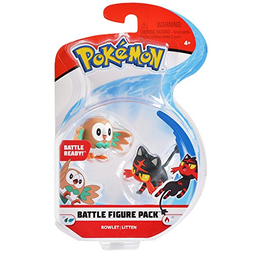 Pokemon 2 Inch Battle Action Figure  2-Pack, includes 2 Rowlet and 2 Litten