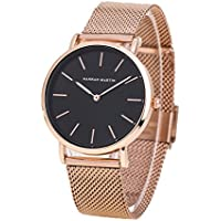 Women's Rose Gold Watches Fashion Stainless Steel Mesh Band Wrist Watch Simple Analog Quartz Black Dial Watch, with Adjust Tool