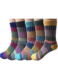 Puluma Women's Winter Socks - 5 Pairs Winter Warm Leisure Vintage Style Thick Knit Wool Cozy Crew Socks