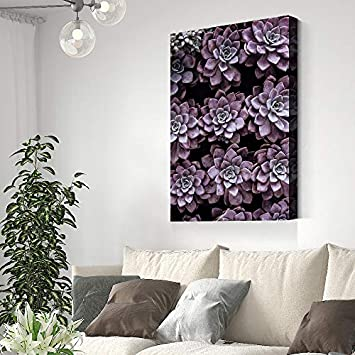 SIGNFORD Canvas Wall Art Purple Succulent Canvas Painting Wall Poster Decor for Living Room Framed Home Decorations – 32×48 inches