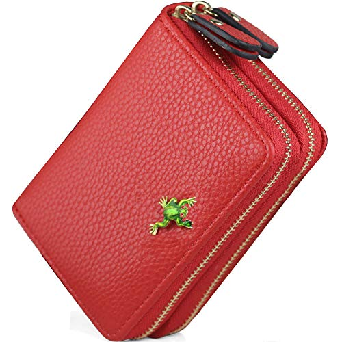 RFID Frog Credit Card Women Wallet Double Zipper Large Capacity Credit Card Holder Wallet Ladies Purse Mother's Day ()