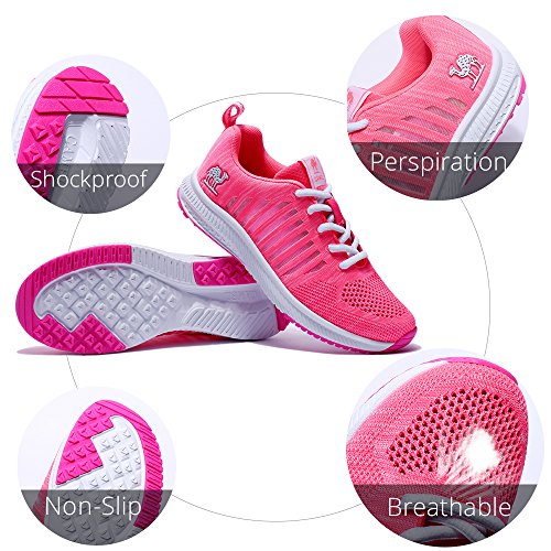 Kameel Womens Loopschoenen Ademend Atletisch Mesh Antislip Mode Lichtgewicht Wandelschoenen Sport Sneakers Roze
