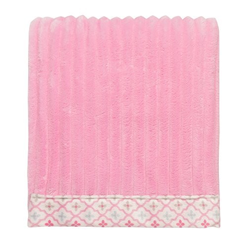 Baby Starters Ribbed Textured Plush Blanket with Patterned Border, Pink