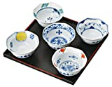 saikai pottery 5 set of Japanese Small Plate w/ 5 different Blue pattern 30010 Some nishiki-e henten from Japan