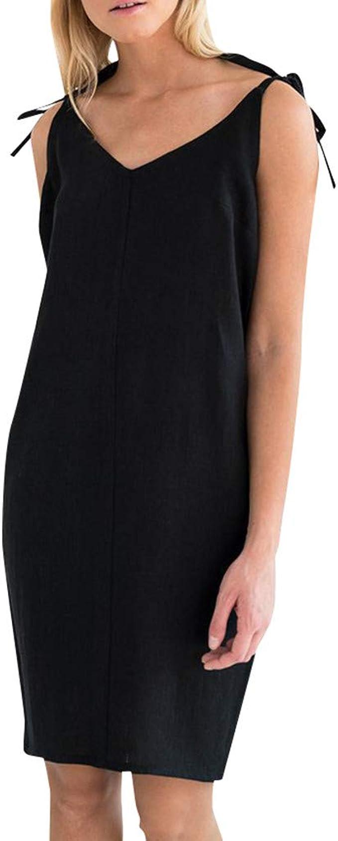 SCHOLIEBEN Kleid Kleider Sommerkleid Damen Sommer Vintage T Shirt