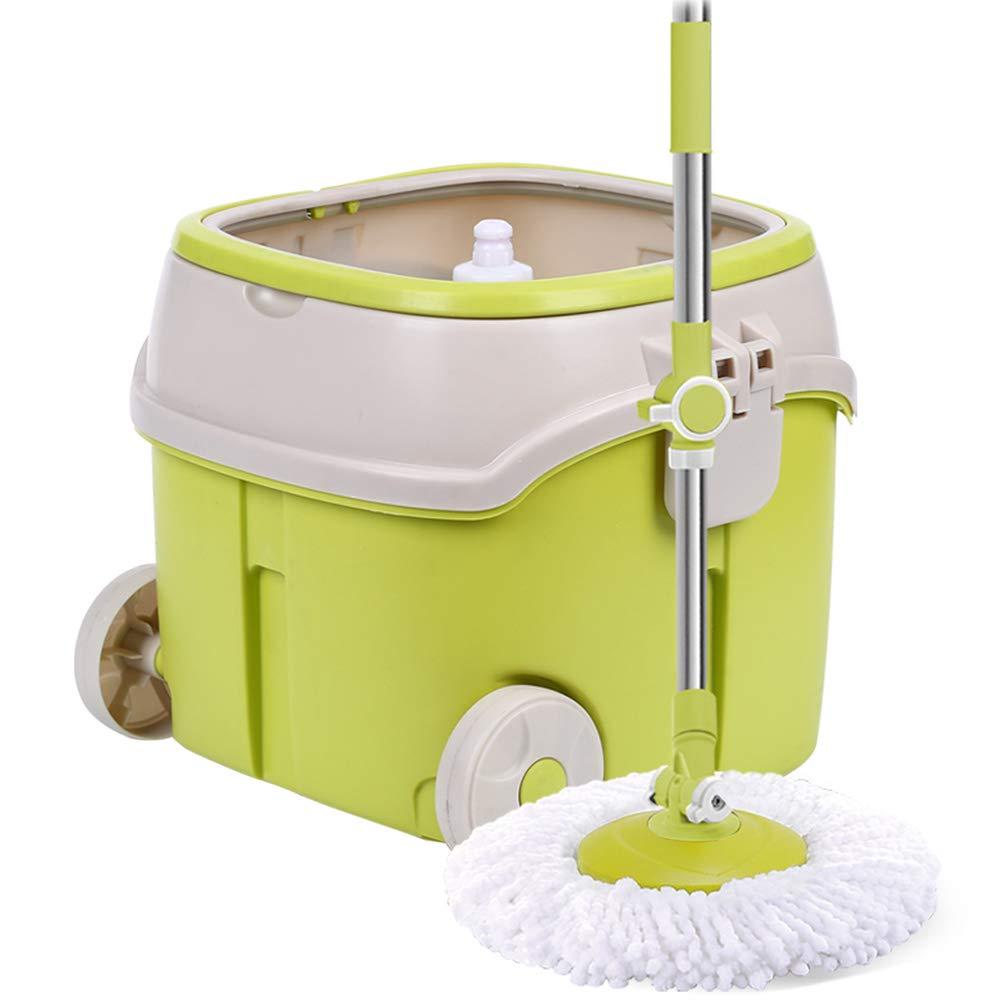 モップ 回転する 手洗い無料 手の圧力 自動脱水 プラスチックバスケット シングルパス モップバケツ、 イエロー 2モップヘッド B07HX8YQQR
