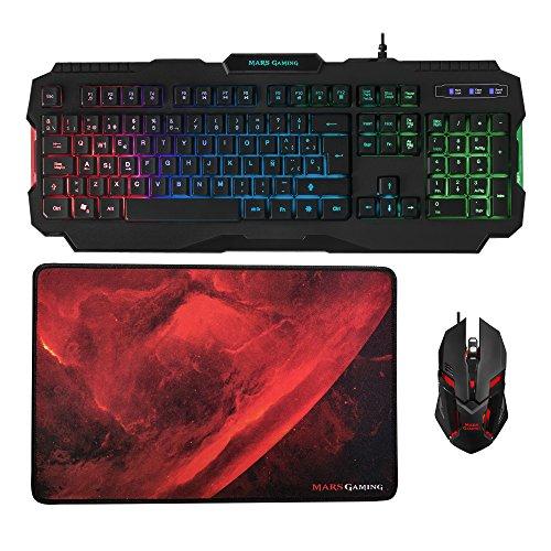 Mars Gaming MCP118, pack iluminacion RGB de teclado, raton y alfombrilla gaming