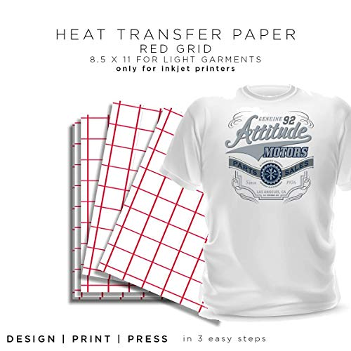 Inkjet Heat Transfer Paper for Light Fabric Red Grid Inkjet Heat Transfer Paper - 8.5