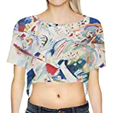 Famous Russian painter Wassily Kandinsky adorns this design with one of his abstract fine art master pieces - take a slice of museum and art history with you wherever you go! A staple for any summer wardrobe, this lovely crop top has a boyfriend-styl...
