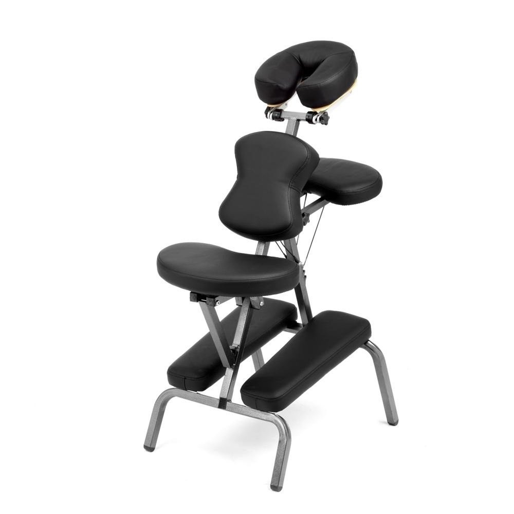 Ataraxia Deluxe Portable Folding Massage Chair w/Carry Case & Strap - Charcoal Black by Royal Massage