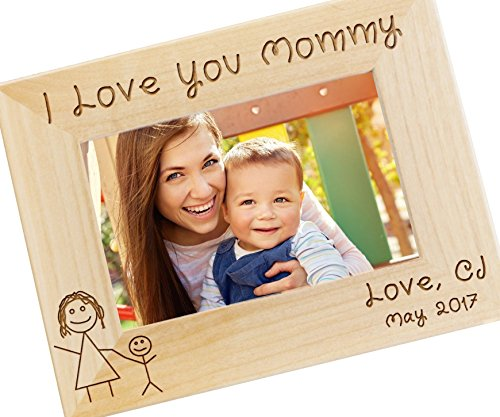 Personalized I Love Mommy Picture Frame - Mothers Day Gift, Gifts for Mom, New Mom Gift, Custom Engraved Photo Frame - WF11