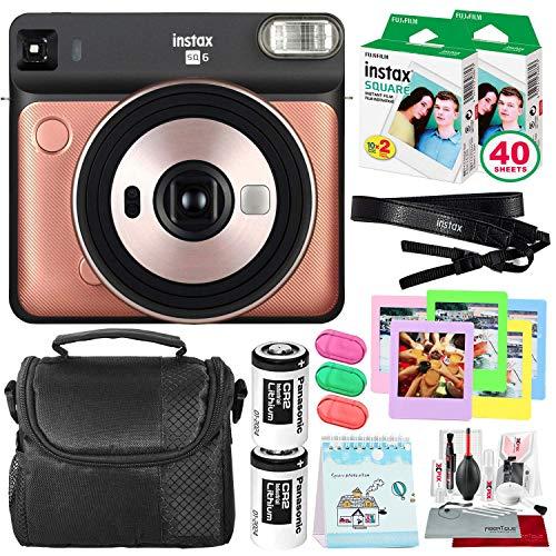 Fujifilm instax Square SQ6 Instant Film Camera (Blush Gold) + 40 Sheet Square Instant Film + Deluxe Bundle (USA Warranty)
