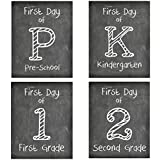 First Day of School Print, Set of 4, Preschool, Kindergarten, 1st Grade, 2nd Grade, Reusable Chalkboard Photo Prop for Kids Back to School Sign for Photos, Frame Not Included (8x10, Set 1 - Style 1)