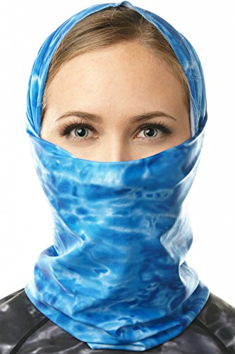 Cycle Designs - Aqua Design Face Mask for Women: UPF 50+ Motorcycle Ski Cover Balaclava Gaiter: Royal Ripple: Size Large