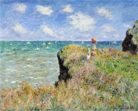 'Walk On The Cliff At Pourville, 1882 By Claude Monet' Oil Painting, 12x15 Inch / 30x38 Cm ,printed On High Quality Polyster Canvas ,this High Definition Art Decorative Prints On Canvas Is Perfectly Suitalbe For Nursery Decor And Home Decor And Gifts
