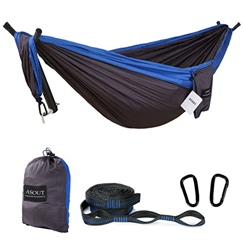 ASOUT Outdoor Single Double Camping Hammock with Tree Straps, Portable Lightweight Parachute Nylon Hammock for Hiking, Backpacking, Picnic,Travel and Other Outdoor Sports
