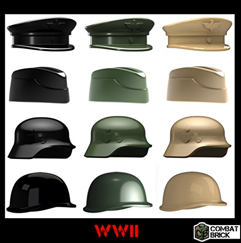 WWII Helmets and Headgear 12 pack - Custom Army Builder Minifig Toy Accessories lot ()