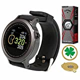 AMBA GolfBuddy WTX Golf GPS/Rangefinder Smart Watch (40k+ Preloaded Worldwide Courses) Bundle with 1 Sleeve (3 Balls) Callaway Chrome Soft X and Magnetic Hat Clip Ball Marker (Four Leaf Clover)