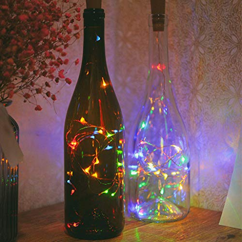 Nesee LED Cork String Wine Bottle Fairy Mini Copper Wire, Battery Operated Starry Lights for DIY Christmas Halloween Wedding Party Indoor Outdoor Decoration (Multicolor) -
