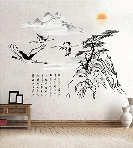 Kezhy Chinese Style Mountain Tree Wall Sticker Birds Stickers Vintage Retro Posters Living Room Home Decor Wallstickers Wallpaper -