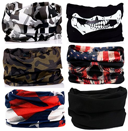 KALILY 6PCS Headband Bandana - Versatile Sports & Casual Headwear –Multifunctional Seamless Neck Gaiter, Headwrap, Balaclava, Helmet Liner, Face Mask for Camping, Running, Cycling, Fishing etc -