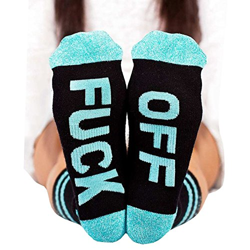 Socks FUCK OFF Ribbed Knit Half Crew Socks Fall Winter Ferbia Unisex Embroidery Swear Word Curse Printed Stockings -