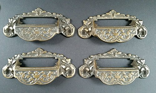 (4 Victorian Antique Style Apothecary Bin Pull Handles w.Label Holder 4 3/4