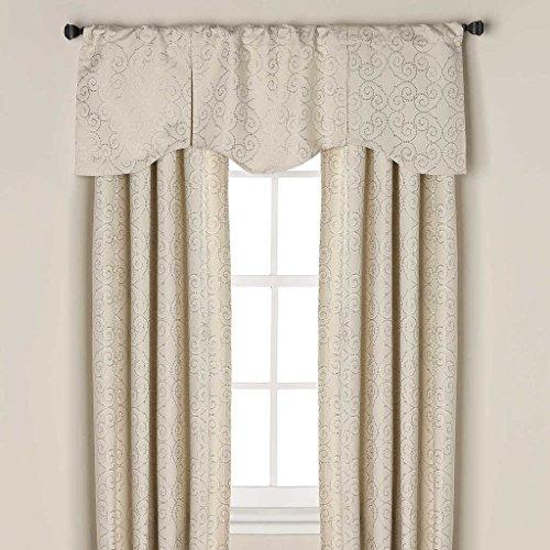 Captiva Scalloped Pleated Scroll Window Treatment Valance, 52