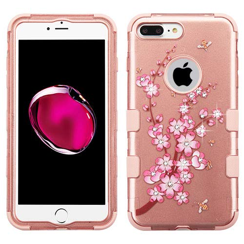 Wydan Compatible Case for iPhone 8 Plus/iPhone 7 Plus - TUFF Hybrid Hard Shock Absorbent Case Protective Heavy Duty Impact Skin Cover - Cherry Blossom for Apple
