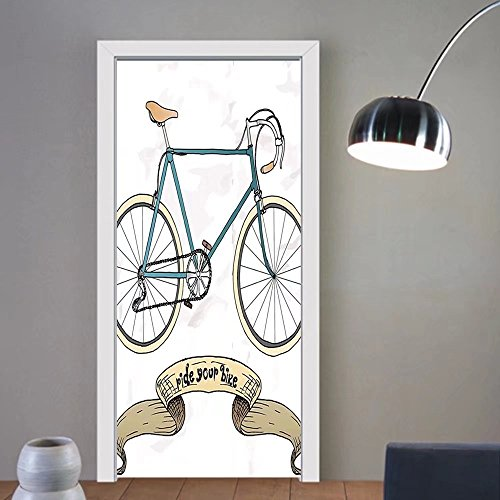 3d door stickers Retro Ride Your Bike Theme Hipster Handdrawn Bicycle and Ribbon Print Sand Brown and Petrol Blue For Room Decor 30x79 ()