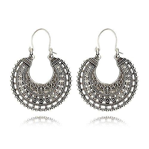 Cyntan Gypsy Hoop Dangle Earrings Boho Ethnic Jewelry Antique Retro Tribal Earrings Swirl Indian Boho Earrings Body Jewelry For Women Girls