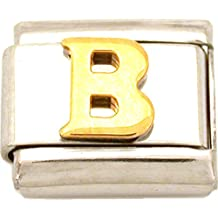 B Italian Charm Gold Plated Letter