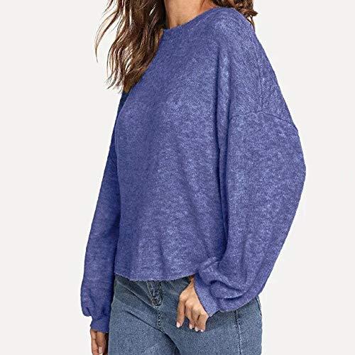 Blue Longues Vtements Mode dcontract Grande d'automne Pull Tricots pour Femmes Taille La Manches kingwo OwSfqHxq