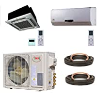 YMGI Dual Zone - 27000 (18k+9k) BTU Ceiling Suspension Plus Wall Mount Ductless Mini Split Air Conditioner with Heat Pump for Home, Office, shops