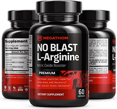 PREMIUM L-Arginine Amino Acids NO BLAST Nitric Oxide Booster | Pre-Workout Supplement for Men and Women | Nitric Oxide Booster by MEGATHOM | Support Peak Athletic Performance and Lean Body (Nitric Blast)