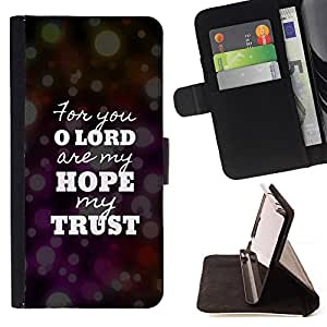 KingStore / Leather Etui en cuir / Samsung Galaxy S5 Mini, SM-G800 / BIBLIA Lord Hope Confianza