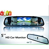 "BW 2 in 1 5 inch Digital Color TFT LCD 16:9 5"" Screen Car Rearview Mirror Security Conitor for Camera DVD PAL/NTSC Multi-language"
