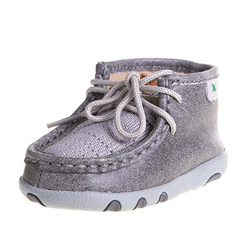 Twisted X Genuine Leather Infant Chukka Driving Moc Shoes, Light Grey, Size 6