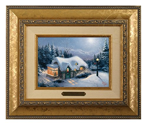 Thomas Kinkade Silent Night Brushwork (Gold Frame) (Kinkade Cottage Print Christmas Thomas)
