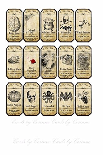 Halloween 15 assorted bottle labels stickers laminated ready to use. Party decoration -