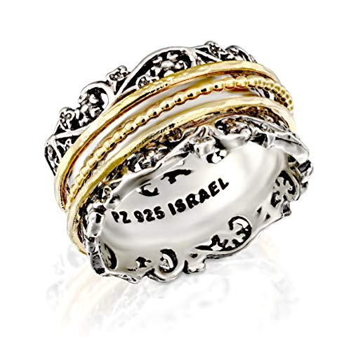 Paz Creations YG .925 Sterling Silver Ring with Gold Over Silver Spinners, Made in Israel (7) ()