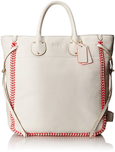 Coach Tatum Large Tote in Whiplash Leather #35156 Chalk/Neon Pink - Neon Pebble Leather
