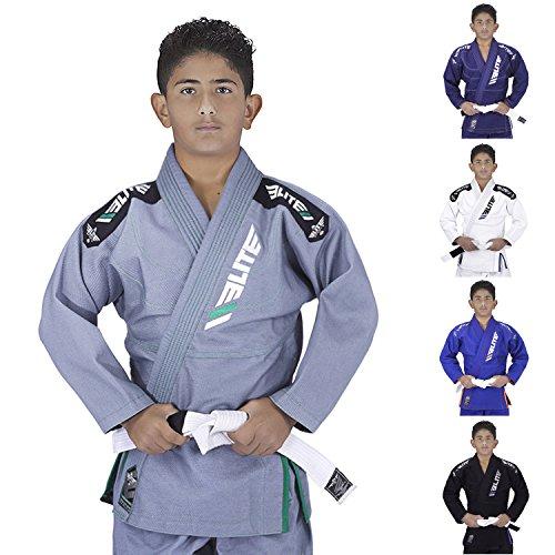 Elite Sports IBJJF Ultra Light BJJ Brazilian Jiu Jitsu Gi For Kids with Preshrunk Fabric and Free Belt, Gray (C00)