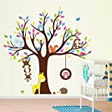 ElecMotive Cartoon Forest Animal Monkey Owls Fox Rabbits Hedgehog Tree Swing Nursery Wall Stickers Wall Murals DIY Posters Vinyl Removable Art Wall Decals for Kids Girls Room Decoration (giraffe)