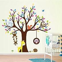ElecMotive Cartoon Forest Animal Monkey Owls Fox Rabbits Hedgehog Tree Swing Nursery Wall Stickers Wall Murals DIY Posters Vinyl Removable Art Wall Decals for Kids Girls Room Decoration (giraffe)