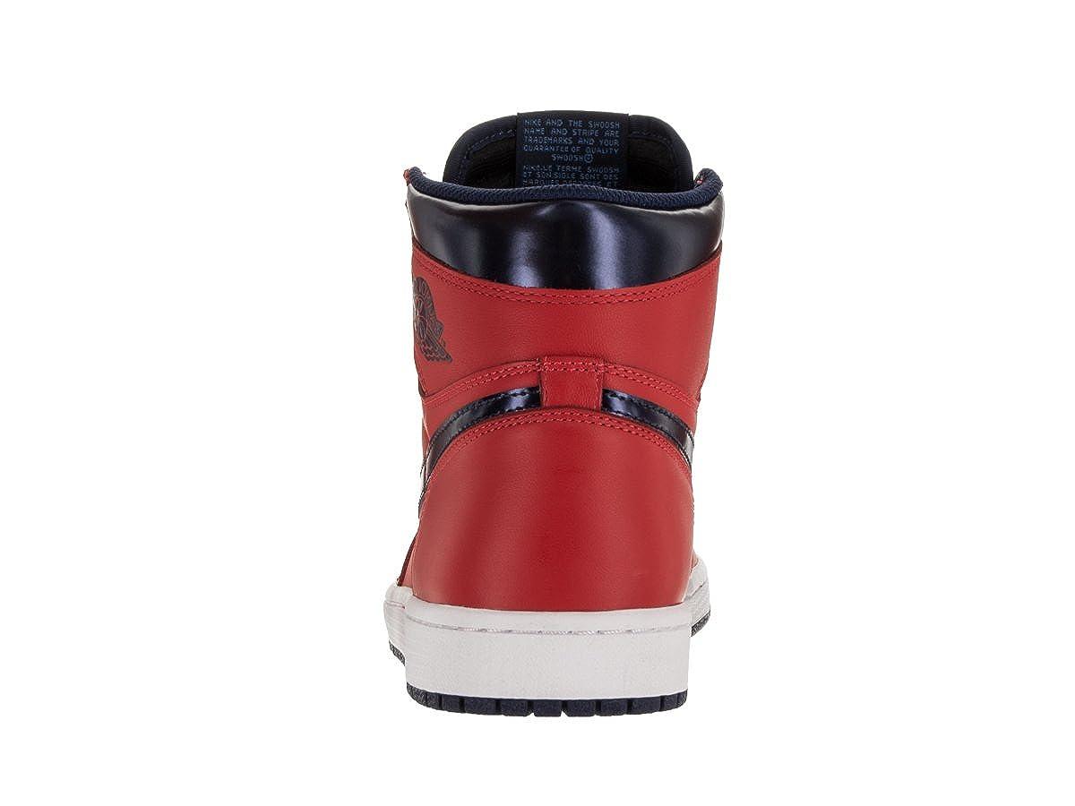 Nike Jordan Mens Air Jordan 1 Retro High OG Lt Crmsn//Mid Nvy//Unvrsty Bl//Wh Basketball Shoe 14 Men US