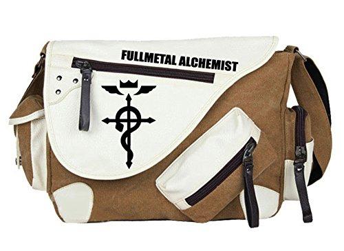 Gumstyle Fullmetal Alchemist Anime Cosplay Canvas Messenger Bag Crossbody Sling Shoulder Schoolbag for Boys Girls Brown 1 - Metal Bag Full Messenger Alchemist