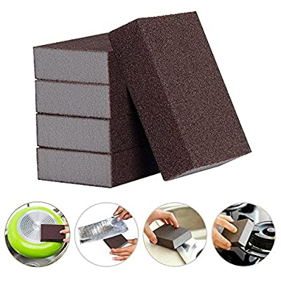 LOHOME Magic Emery Sponge Brush - Pack of 3 Sponge Scouring Pads Coated with Heavy Duty Powdered Emery Rust Removal Sponge Scrubber for Kitchenware, House Cleaning