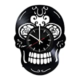 Fun Door Decorative Skull Design Handmade Vinyl Record Wall Clock – Best Gift For Sale